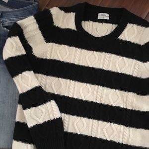 Madewell Wallace Black White Cable Sweater S